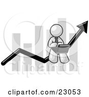 Clipart Illustration Of A White Man Conducting Business On A Laptop Computer On An Arrow Moving Upwards In Front Of A Bar Graph Symbolizing Success by Leo Blanchette