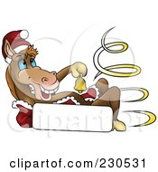 Royalty Free RF Clipart Illustration Of A Happy Christmas Horse Ringing A Bell Over A Blank Sign