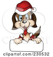 Royalty Free RF Clipart Illustration Of A Happy Christmas Dog With A Blank Sign