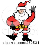 Royalty-Free (RF) Clipart Illustration of a Merry Santa Waving by Zooco