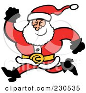 Royalty Free RF Clipart Illustration Of A Merry Santa Running