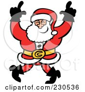 Royalty Free RF Clipart Illustration Of A Merry Santa Dancing