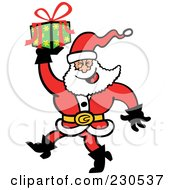 Royalty Free RF Clipart Illustration Of A Merry Santa Carrying A Gift