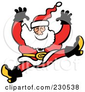 Royalty Free RF Clipart Illustration Of A Merry Santa Jumping