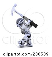 Royalty Free RF Clipart Illustration Of A 3d Robot Character Hammering by KJ Pargeter