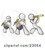 Clipart Illustration Of Three White Men Playing Flutes And Drums At A Music Concert