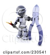 3d Robot Character Holding A Cable And Cable Cutters