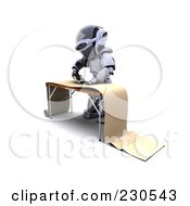 Royalty Free RF Clipart Illustration Of A 3d Robot Character Interior Decorating