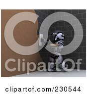 Royalty Free RF Clipart Illustration Of A 3d Robot Character Drywalling 1 by KJ Pargeter