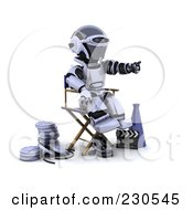 Royalty Free RF Clipart Illustration Of A 3d Robot Character Directing A Movie