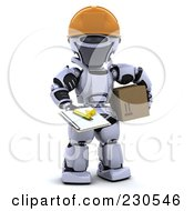 Royalty Free RF Clipart Illustration Of A 3d Robot Character Delivering A Box by KJ Pargeter
