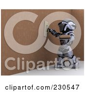 Royalty Free RF Clipart Illustration Of A 3d Robot Character Drywalling 2 by KJ Pargeter