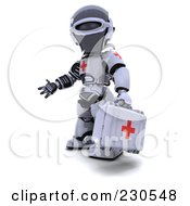 Royalty Free RF Clipart Illustration Of A 3d Robot Character Paramedic by KJ Pargeter