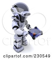Royalty Free RF Clipart Illustration Of A 3d Robot Character Using A Radar Screen
