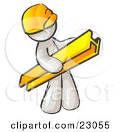 Clipart Illustration Of A White Man Construction Worker Wearing A Hardhat And Carrying A Beam At A Work Site