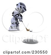 Royalty Free RF Clipart Illustration Of A 3d Robot Character Golfing