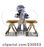 Royalty Free RF Clipart Illustration Of A 3d Robot Character Using A Saw Horse