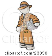 Clipart Illustration Of A Secretive White Man In A Trench Coat And Hat Carrying A Box With A Question Mark On It