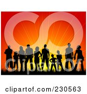 Royalty Free RF Clipart Illustration Of A Silhouetted Crowd Against A Sunset