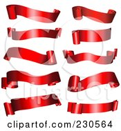 Royalty Free RF Clipart Illustration Of A Digital Collage Of Shiny Red Ribbon Banners