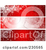 Royalty Free RF Clipart Illustration Of A Digital Collage Of Three Red Winter Banner Designs