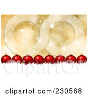 Royalty Free RF Clipart Illustration Of A Line Of Red Christmas Baubles Over White Snow Grunge On Gold Sparkles