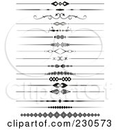 Royalty Free RF Clipart Illustration Of A Digital Collage Of Page Divider Borders In Black And White by KJ Pargeter
