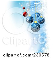 Royalty Free RF Clipart Illustration Of A Christmas Background With Blue And Red Baubles Over Snowflakes And White Grunge