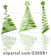 Royalty Free RF Clipart Illustration Of A Digital Collage Of Three Green 3d Christmas Trees With Reflections