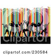 Royalty Free RF Clipart Illustration Of Silhouetted Dancers Over A Colorful Striped And Floral Grunge Background