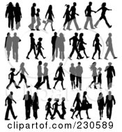 Royalty Free RF Clipart Illustration Of A Digital Collage Of Silhouetted People by KJ Pargeter