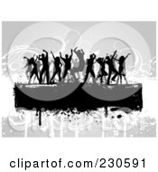 Royalty Free RF Clipart Illustration Of Silhouetted Dancers Over A Text Bar On A Gray Floral Grunge Background