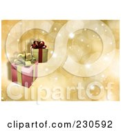 Royalty Free RF Clipart Illustration Of A Christmas Background Of Suspended Gifts Over Gold Sparkles