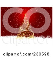 Royalty Free RF Clipart Illustration Of A Christmas Background Of A Golden Christmas Tree In The Snow by KJ Pargeter