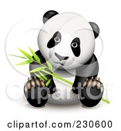 Royalty Free RF Clipart Illustration Of A Panda Sitting And Holding Bamboo by Oligo