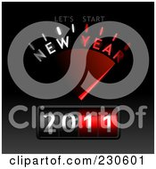 Royalty Free RF Clipart Illustration Of A New Year Gauge On Black And Gray by Oligo #COLLC230601-0124