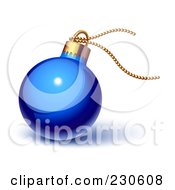 Royalty Free RF Clipart Illustration Of A Glossy Blue Christmas Ornament With Gold String by Oligo #COLLC230608-0124
