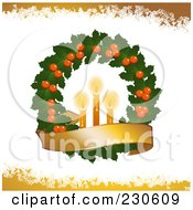 Royalty Free RF Clipart Illustration Of A Christmas Wreath With Candles And A Banner Over White And Yellow Grunge by elaineitalia