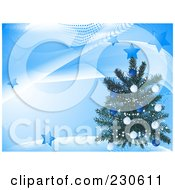 Christmas Tree Over A Blue Wave And Star Background