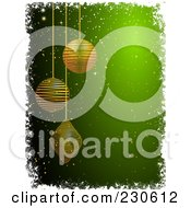 Royalty Free RF Clipart Illustration Of A Green Christmas Background With Gold Ornaments And White Grungy Borders