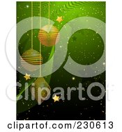 Royalty Free RF Clipart Illustration Of A Green Christmas Background With Golden Ornaments And Stars