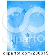 Vertical Blue Star Background With Evergreen Trees