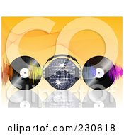 Royalty Free RF Clipart Illustration Of A Disco Ball With Headphones Waves And Vinyl Records On Orange by elaineitalia