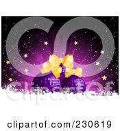 Royalty Free RF Clipart Illustration Of A Christmas Background Of Purple Ornaments With Bows And Stars Over A Burst With White Snow Grunge