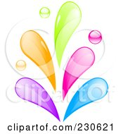 Royalty Free RF Clipart Illustration Of A Rainbow Colored Splash by elaineitalia