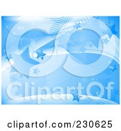 Royalty Free RF Clipart Illustration Of A Blue Star Background With Waves And Halftone by elaineitalia
