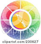 Royalty Free RF Clipart Illustration Of A Paintbrush In The Center Of A Mosaic Color Wheel