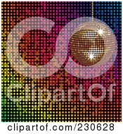 Royalty Free RF Clipart Illustration Of A Gold Disco Ball Over A Colorful Mosaic Background