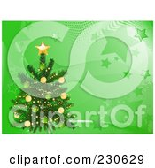 Royalty Free RF Clipart Illustration Of A Christmas Tree Over A Green Wave And Star Background by elaineitalia