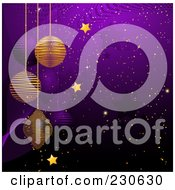 Royalty Free RF Clipart Illustration Of A Purple Christmas Background With Suspended Purple And Gold Ornaments Gold Snow And Stars